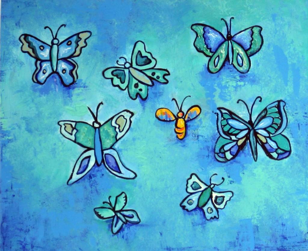 Cuadro Siete Mariposas y Una Abeja de Angélica Zubirán